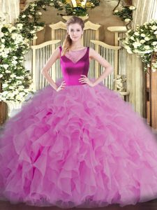 Lilac Scoop Neckline Beading and Ruffles Quinceanera Gowns Sleeveless Side Zipper
