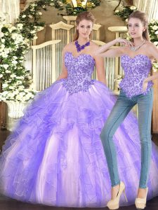 Lavender Sleeveless Appliques and Ruffles Floor Length Quinceanera Dresses