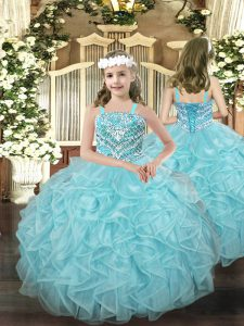 Trendy Sleeveless Lace Up Floor Length Beading and Ruffles Pageant Gowns