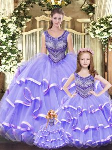 Lilac Ball Gowns Beading and Ruffled Layers 15 Quinceanera Dress Lace Up Tulle Sleeveless Floor Length
