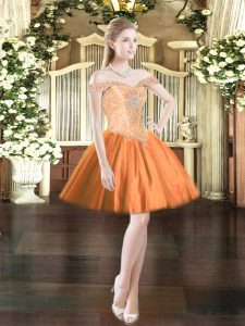 Mini Length Orange Red Evening Dress Tulle Sleeveless Beading