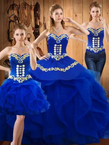 Adorable Blue Satin and Organza Lace Up Sweetheart Sleeveless Floor Length Quince Ball Gowns Embroidery and Ruffles