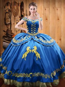 Modest Sleeveless Lace Up Floor Length Beading and Embroidery 15th Birthday Dress
