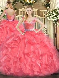 Floor Length Coral Red Quinceanera Dress Tulle Sleeveless Beading and Ruffles