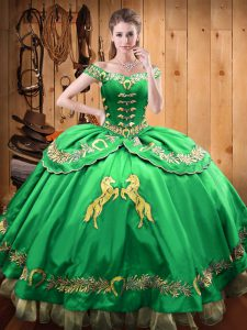 Superior Satin and Organza Off The Shoulder Sleeveless Lace Up Beading and Embroidery Quinceanera Gowns in Green