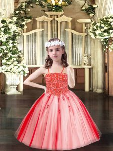 Coral Red Ball Gowns Tulle Spaghetti Straps Sleeveless Beading Floor Length Lace Up Pageant Dresses