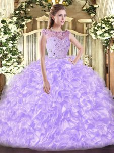 Extravagant Sleeveless Floor Length Beading and Ruffles Zipper Sweet 16 Dresses with Lavender