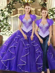 Custom Designed Sleeveless Beading and Ruffles Lace Up Quinceanera Dress