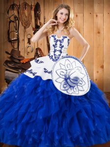 Blue And White Ball Gowns Satin and Organza Strapless Sleeveless Embroidery and Ruffles Floor Length Lace Up 15th Birthday Dress