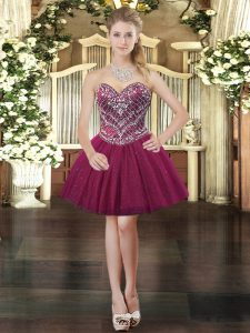 Burgundy Lace Up Prom Dresses Beading Sleeveless Mini Length