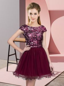 Burgundy A-line Sequins Quinceanera Court of Honor Dress Zipper Tulle Cap Sleeves Mini Length