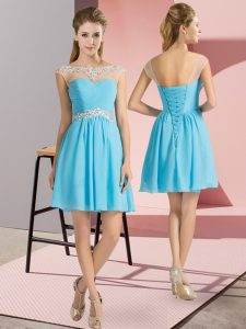 Fantastic Aqua Blue Dress for Prom Prom and Party with Beading Scoop Cap Sleeves Lace Up