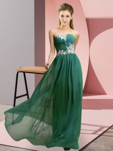 Dark Green Zipper Sweetheart Appliques Homecoming Dress Chiffon Sleeveless