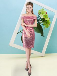 Chic Coral Red Short Sleeves Sequins Mini Length Dress for Prom