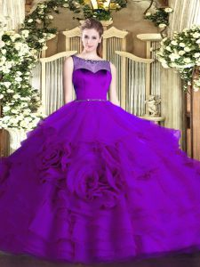 Scoop Sleeveless Quinceanera Dresses Floor Length Beading and Ruffled Layers Eggplant Purple Organza