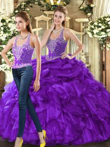 Eggplant Purple Ball Gowns Beading and Ruffles Sweet 16 Dresses Lace Up Tulle Sleeveless Floor Length