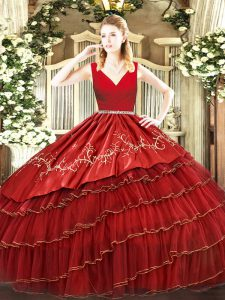 Wine Red Zipper Quinceanera Dresses Embroidery and Ruffled Layers Sleeveless Floor Length