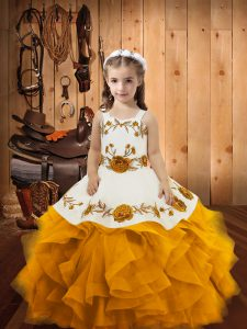 Gold Straps Neckline Embroidery and Ruffles Pageant Dress Sleeveless Lace Up