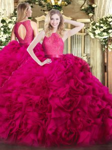 Graceful Floor Length Hot Pink 15th Birthday Dress Fabric With Rolling Flowers Sleeveless Lace