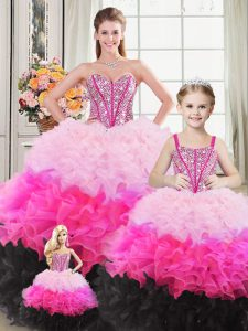 Custom Made Multi-color Ball Gowns Beading and Ruffles Vestidos de Quinceanera Lace Up Organza Sleeveless Floor Length