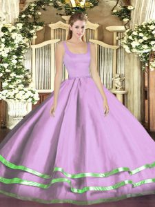 Lavender Zipper Quinceanera Dress Ruffled Layers Sleeveless Floor Length
