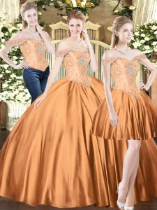 Exquisite Brown Tulle Lace Up Quinceanera Gowns Sleeveless Floor Length Beading