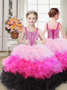 Low Price Sleeveless Lace Up Floor Length Beading and Ruffles Girls Pageant Dresses
