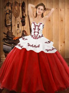 Red Lace Up Strapless Embroidery Sweet 16 Quinceanera Dress Tulle Sleeveless