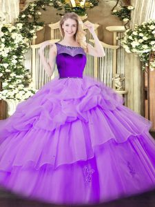 Edgy Lavender Ball Gowns Scoop Sleeveless Organza Floor Length Zipper Beading and Pick Ups Quinceanera Gown
