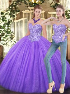 Eggplant Purple Zipper Sweet 16 Dress Appliques Sleeveless Floor Length