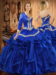 Royal Blue Sweetheart Lace Up Embroidery and Ruffles Sweet 16 Dresses Sleeveless