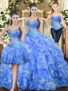 Floor Length Baby Blue 15th Birthday Dress Tulle Sleeveless Beading and Ruffles