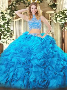 Sweet High-neck Sleeveless Quinceanera Dress Floor Length Beading and Ruffles Baby Blue Tulle