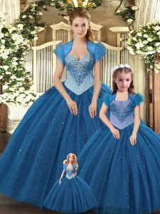 Latest Floor Length Ball Gowns Sleeveless Teal Quinceanera Dresses Lace Up
