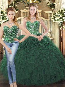Free and Easy Floor Length Dark Green 15 Quinceanera Dress Sweetheart Sleeveless Lace Up