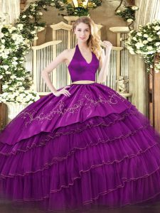 Fuchsia Organza and Taffeta Zipper Halter Top Sleeveless Floor Length 15 Quinceanera Dress Embroidery and Ruffled Layers
