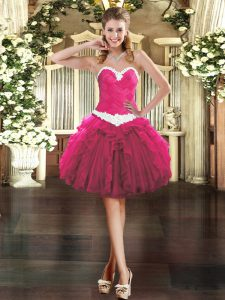 Captivating Sweetheart Sleeveless Prom Party Dress Mini Length Appliques and Ruffles Fuchsia Organza