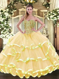 Fitting Sweetheart Sleeveless Organza Quinceanera Dress Beading and Ruffled Layers Lace Up