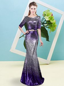 Scoop Half Sleeves Zipper Prom Dress Multi-color Sequined