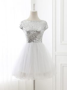 Custom Fit Cap Sleeves Tulle Mini Length Zipper Bridesmaid Dresses in White with Sequins