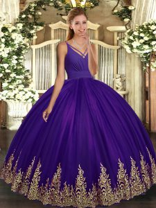 Great Purple Sweet 16 Quinceanera Dress Military Ball and Sweet 16 and Quinceanera with Appliques V-neck Sleeveless Backless