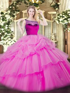 Luxurious Lilac Ball Gowns Beading and Appliques and Pick Ups Quinceanera Dress Zipper Organza Sleeveless Floor Length