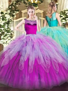 Nice Multi-color Organza Zipper Scoop Sleeveless Floor Length Ball Gown Prom Dress Beading and Ruffles