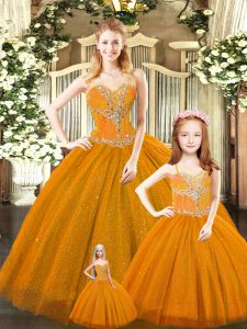 Excellent Sleeveless Beading Lace Up 15 Quinceanera Dress
