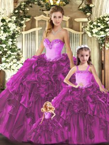 Glorious Sleeveless Organza Floor Length Lace Up 15 Quinceanera Dress in Fuchsia with Ruffles