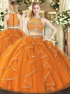 Hot Selling Sleeveless Zipper Floor Length Beading and Ruffles Quinceanera Gowns