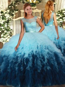 Classical Multi-color Scoop Backless Beading and Ruffles Quinceanera Dresses Sleeveless