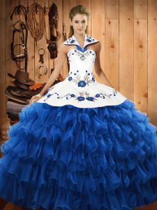 Floor Length Blue Quinceanera Gown Organza Sleeveless Embroidery and Ruffled Layers