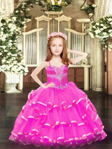 Unique Hot Pink Organza Lace Up Pageant Dress Wholesale Sleeveless Floor Length Beading and Ruffled Layers