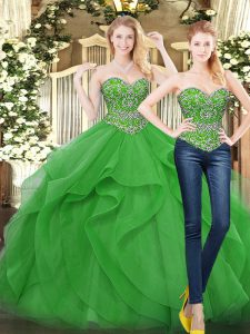 Beading and Ruffles Vestidos de Quinceanera Green Lace Up Sleeveless Floor Length